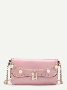 Perle Faux design sac à bandoulière avec clouté