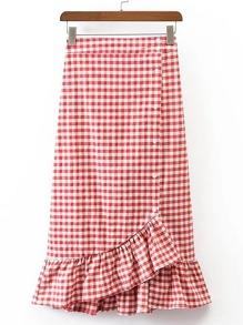 Gingham Ruffle Layered Fishtail Skirt