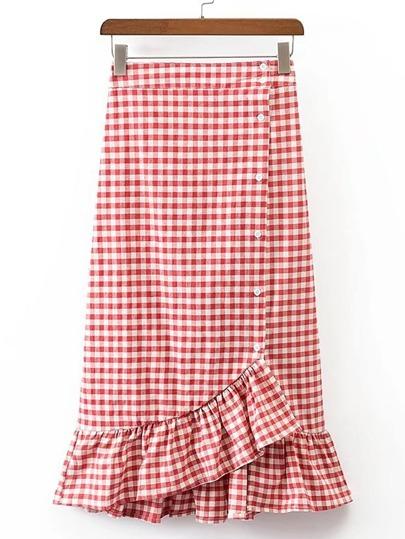Модная клетчатая юбка годе со сборкой