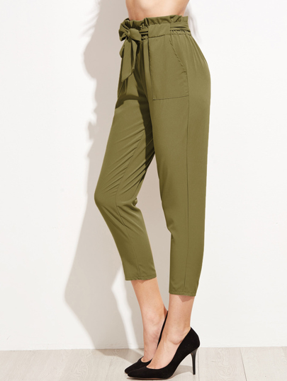 Ruffle Waist Self Belt Tailored Pants