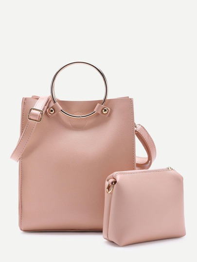 Ring Detail PU Shoulder Bag With Clutch Bag