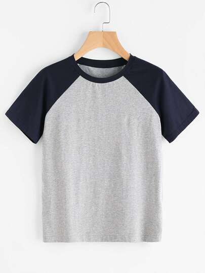 Contrast Raglan Sleeve Heathered Tee