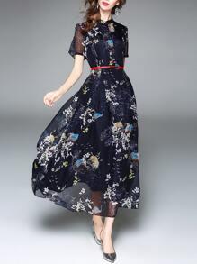 فستان كم قصير طباعة الزهور