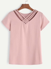 V Neck Lattice Front Tee