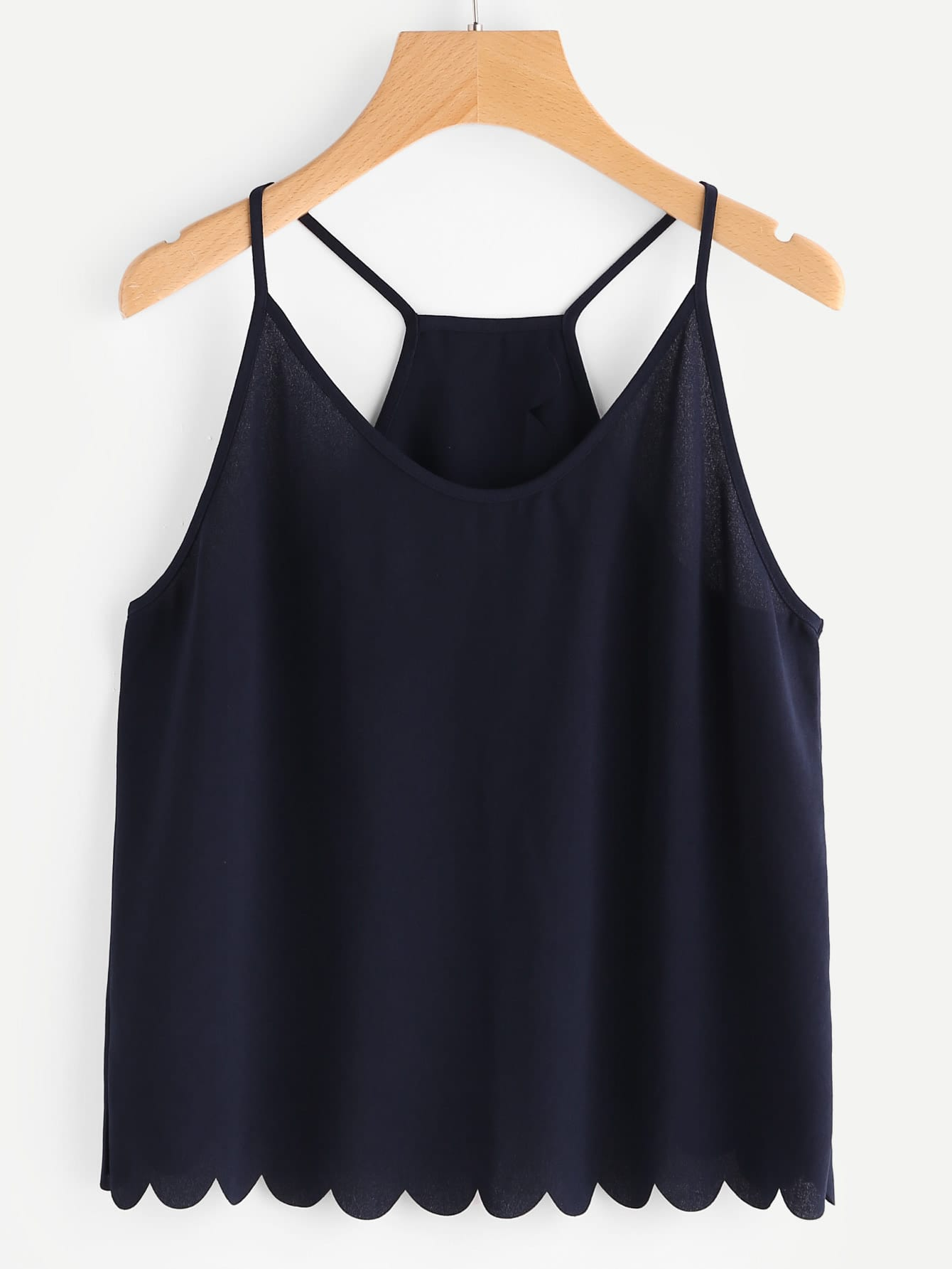 Купить Тёмно-синий модный топ на бретельках с фестонами, null, SheIn