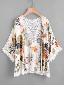 Kimono bicolore découpé creux imprimé tropical en crochet