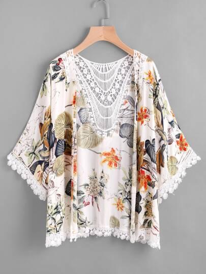 Tropical Print Contrast Hollow Out Crochet Trim Kimono