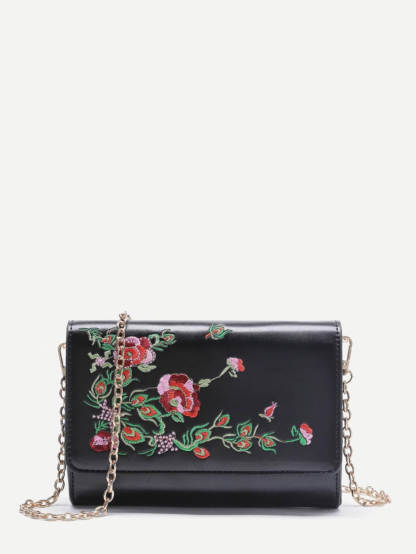 Фото Flower Embroidery PU Crossbody Bag. Купить с доставкой