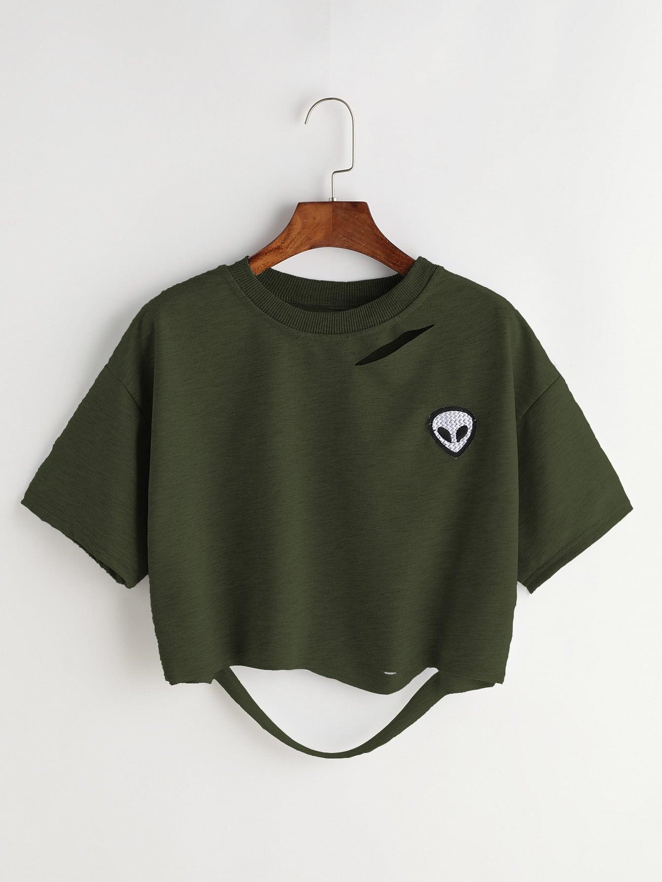 Фото Alien Patch Ripped Crop T-shirt. Купить с доставкой