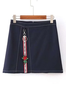 Zipper Back A Line Denim Skirt With Keychain Detail