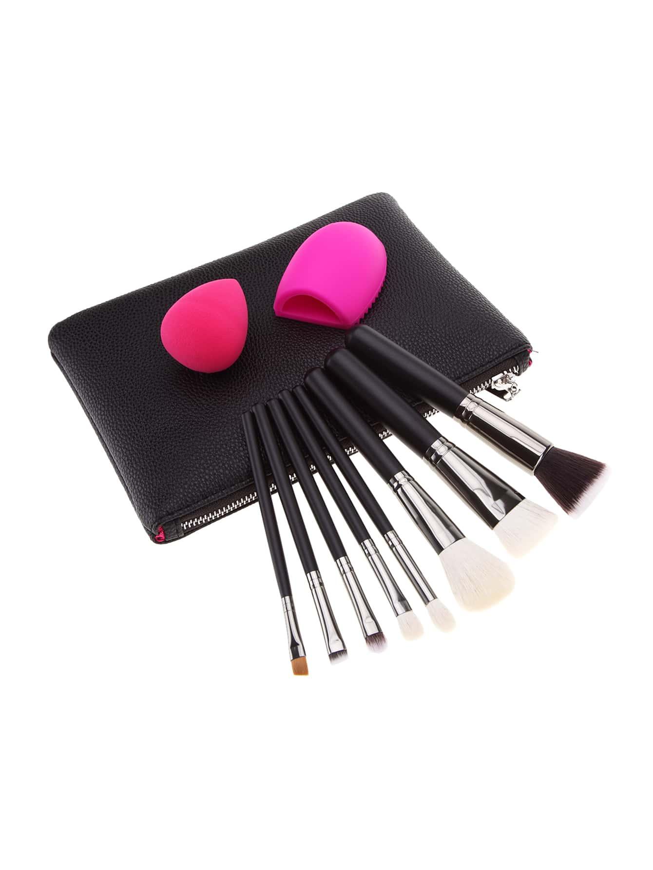 Фото Makeup Brush And Puff Set With Bag. Купить с доставкой