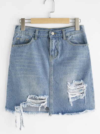 ripped frayed hem denim skirt shein sheinside