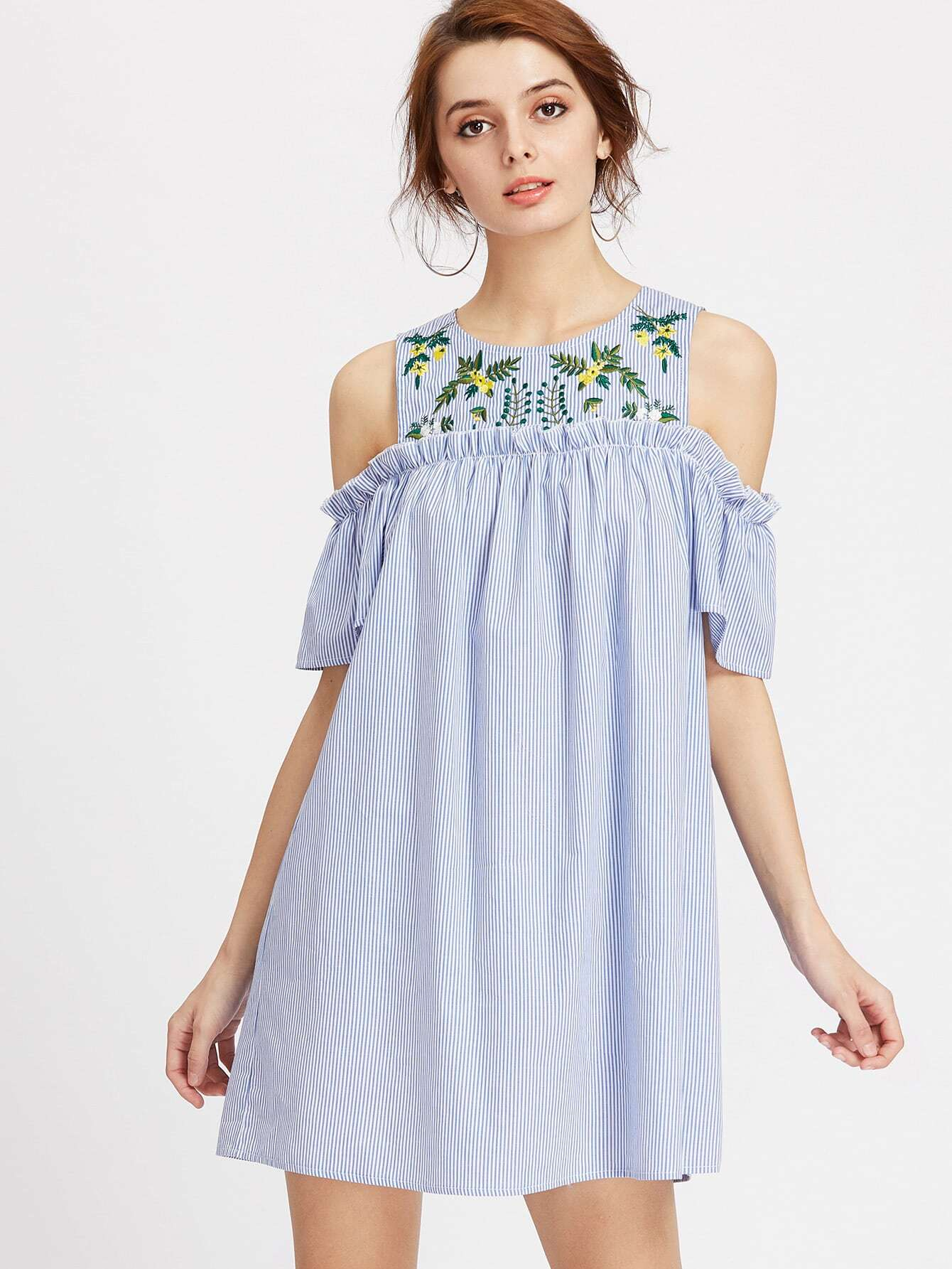 Embroidered Yoke Open Shoulder Frill Detail Striped Dress thumbnail
