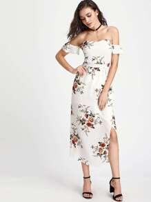 Off-the-shoulder Floral Full Length Dress