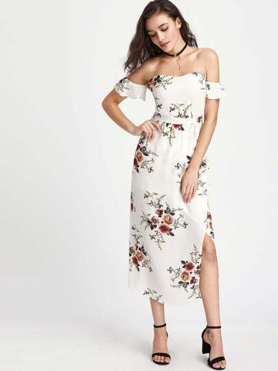 Off-the-shoulder Floral Full Length Dress