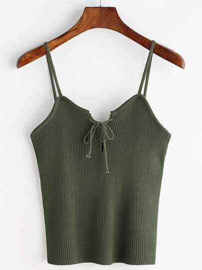 Lace Up Front Ribbed Knitted Cami Top