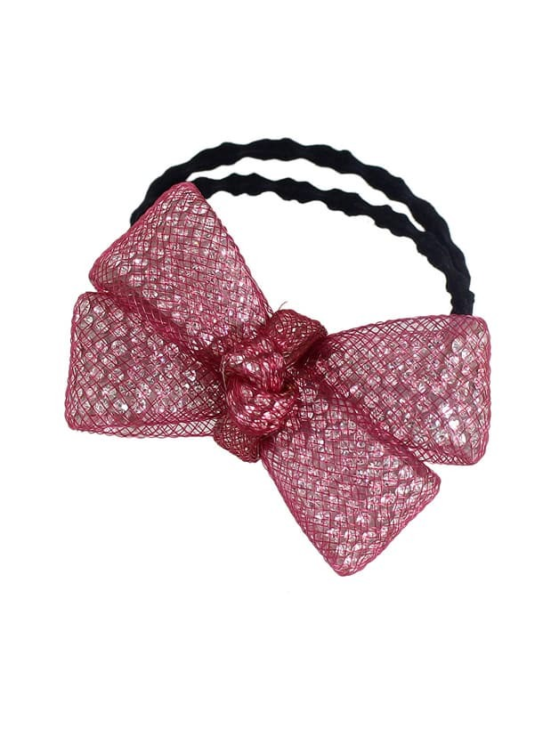 Red Color Trendy Multicolors Rhinestone Bow Elastic Hair Rope