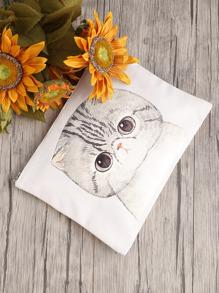 Pochette imprimé du chat avec le zip