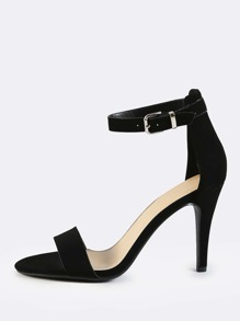 Kitten Ankle Strap Heels BLACK