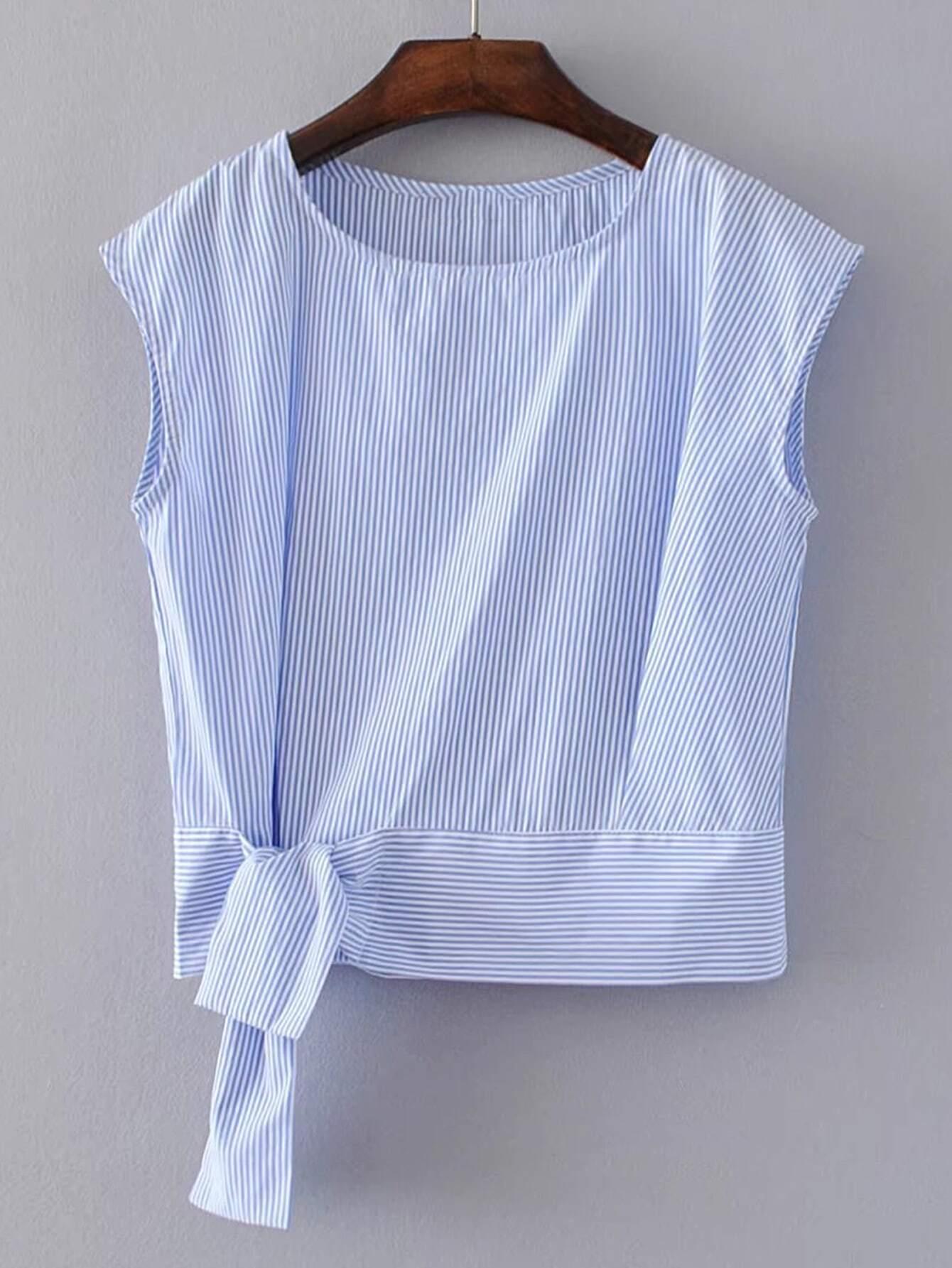 Vertical Striped Knot Waist Sleeveless Top blouse170427206