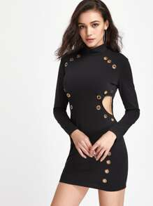 Cutout Side Grommet Detail Dress