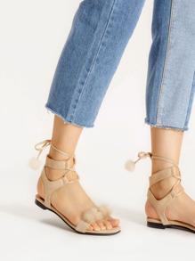 Sandales à lacets en faux cuir