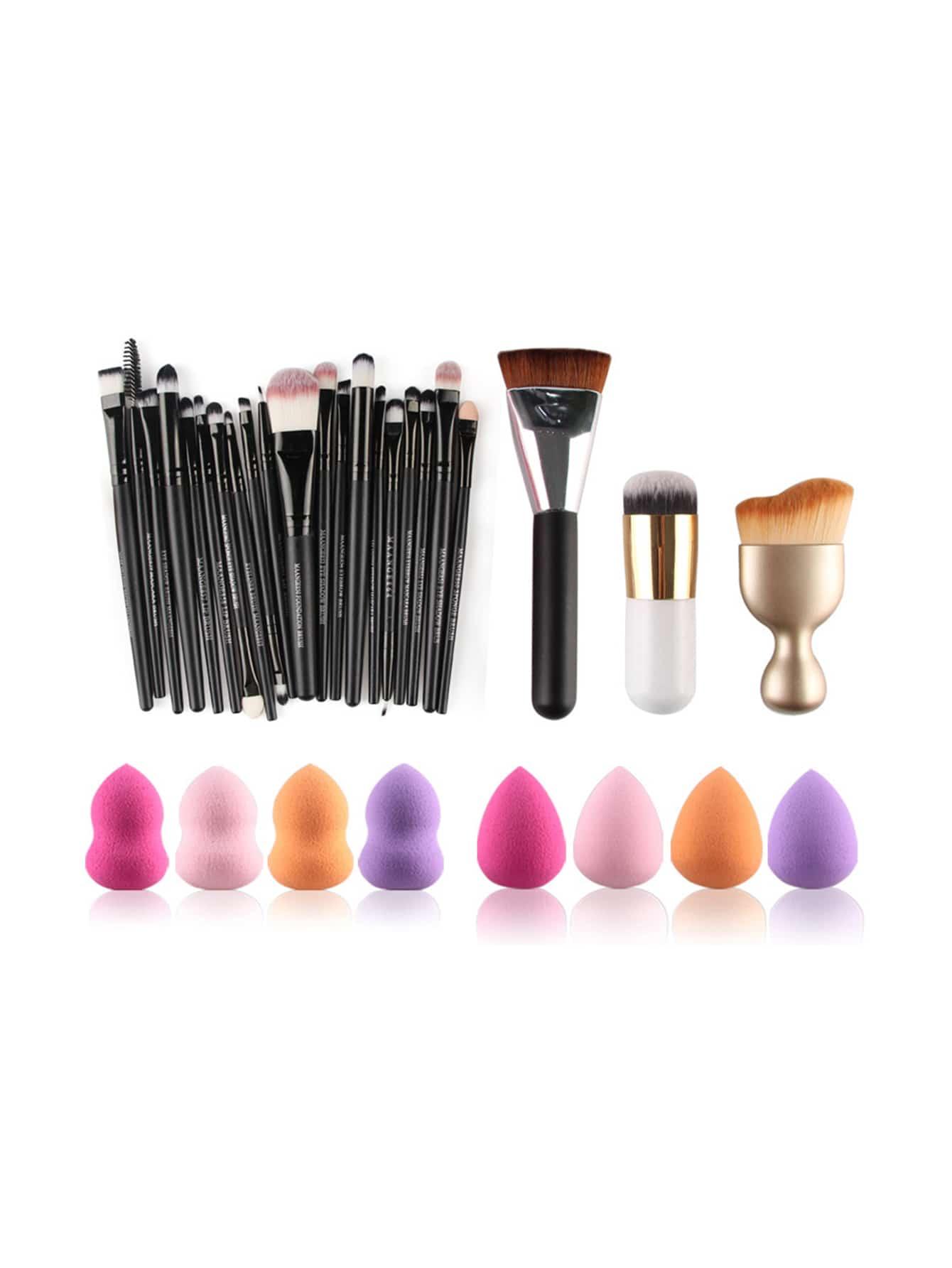 Фото Professional Makeup Brush Set With Puff. Купить с доставкой