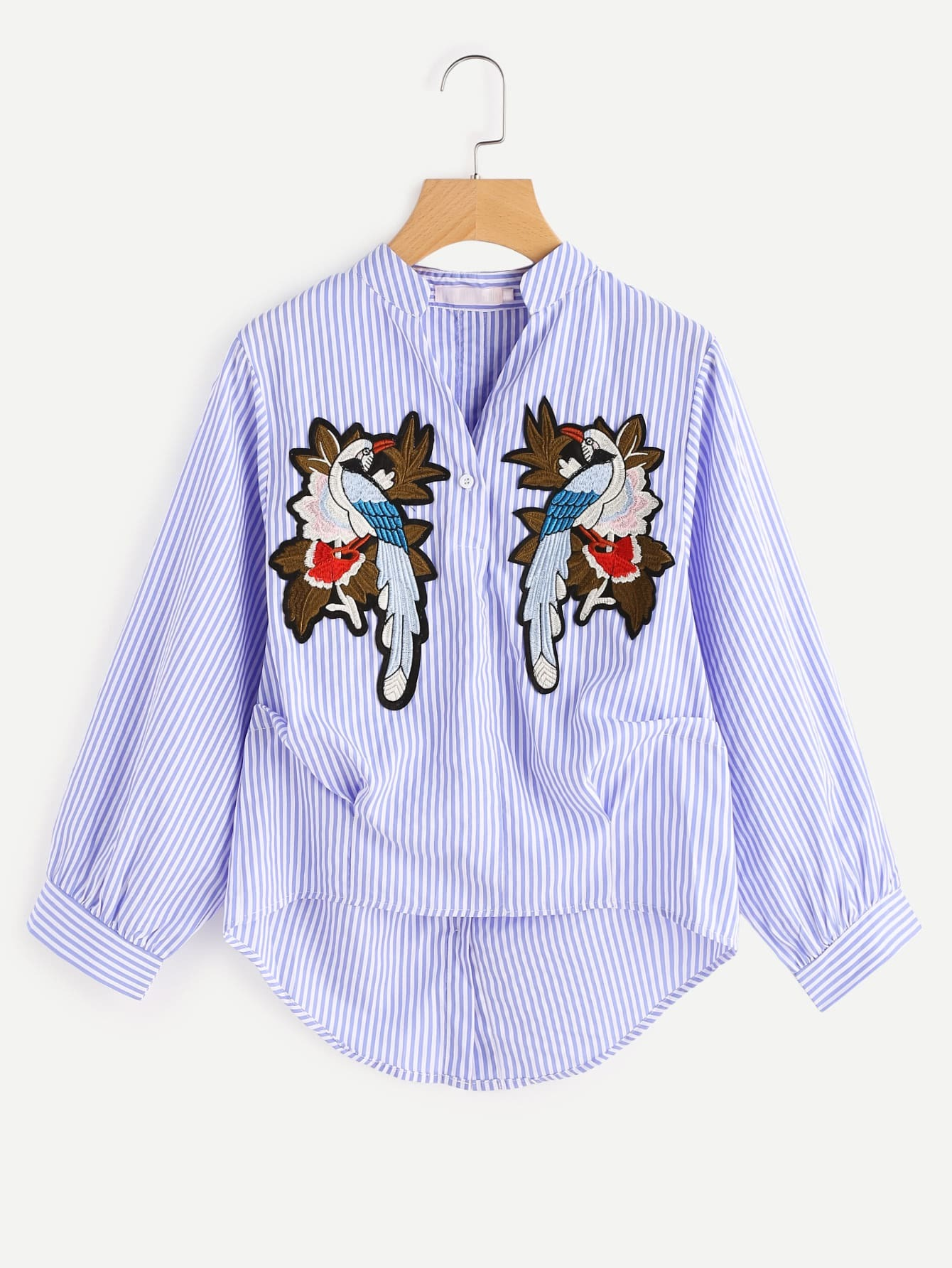 Фото Vertical Striped Embroidery Applique Gathered Blouse. Купить с доставкой