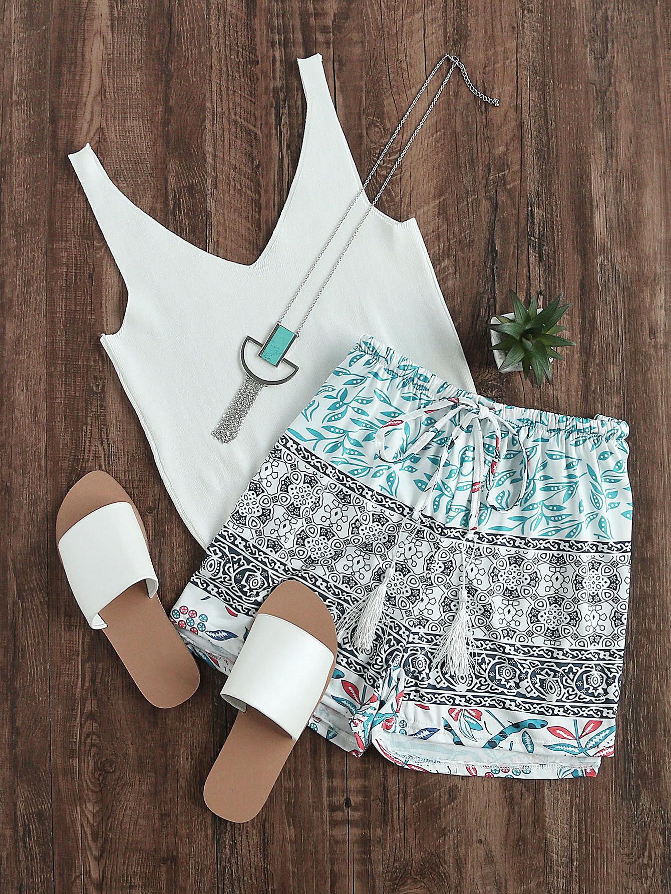 Фото Aztec Print Drawstring Waist Shorts. Купить с доставкой