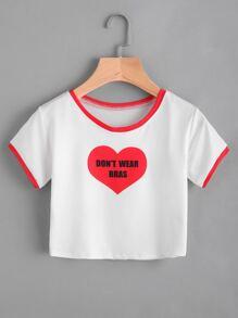 T-shirt con stampa di slogan , con bordi a contrasto