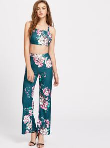 Calico Print Cutout Back Cami Top With Pants