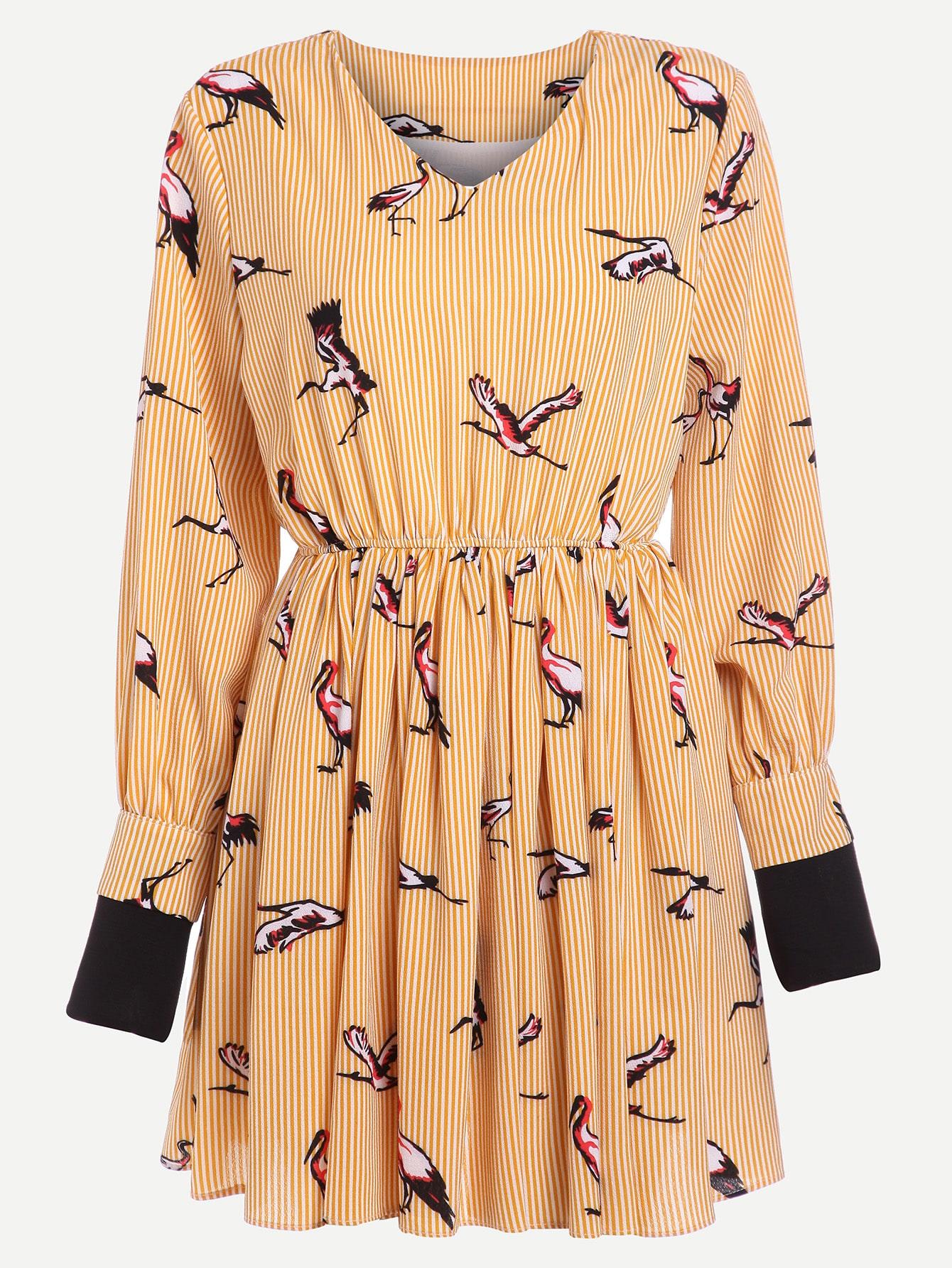 Contrast Cuff Vertical Striped Cranes Print Dress dress170427401