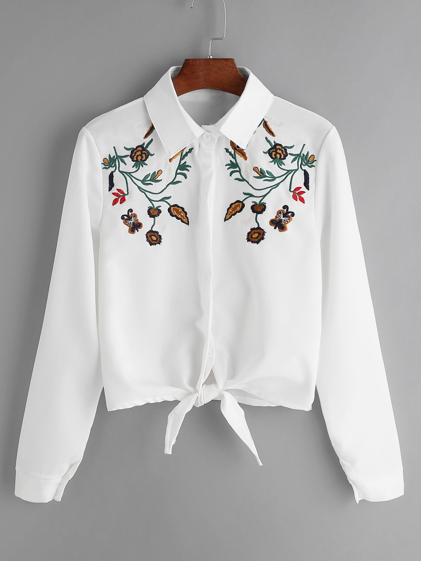 Flower Embroidered Tie Front Shirt