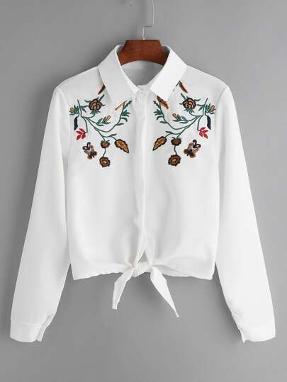 Flower embroidered tie front shirt shein sheinside