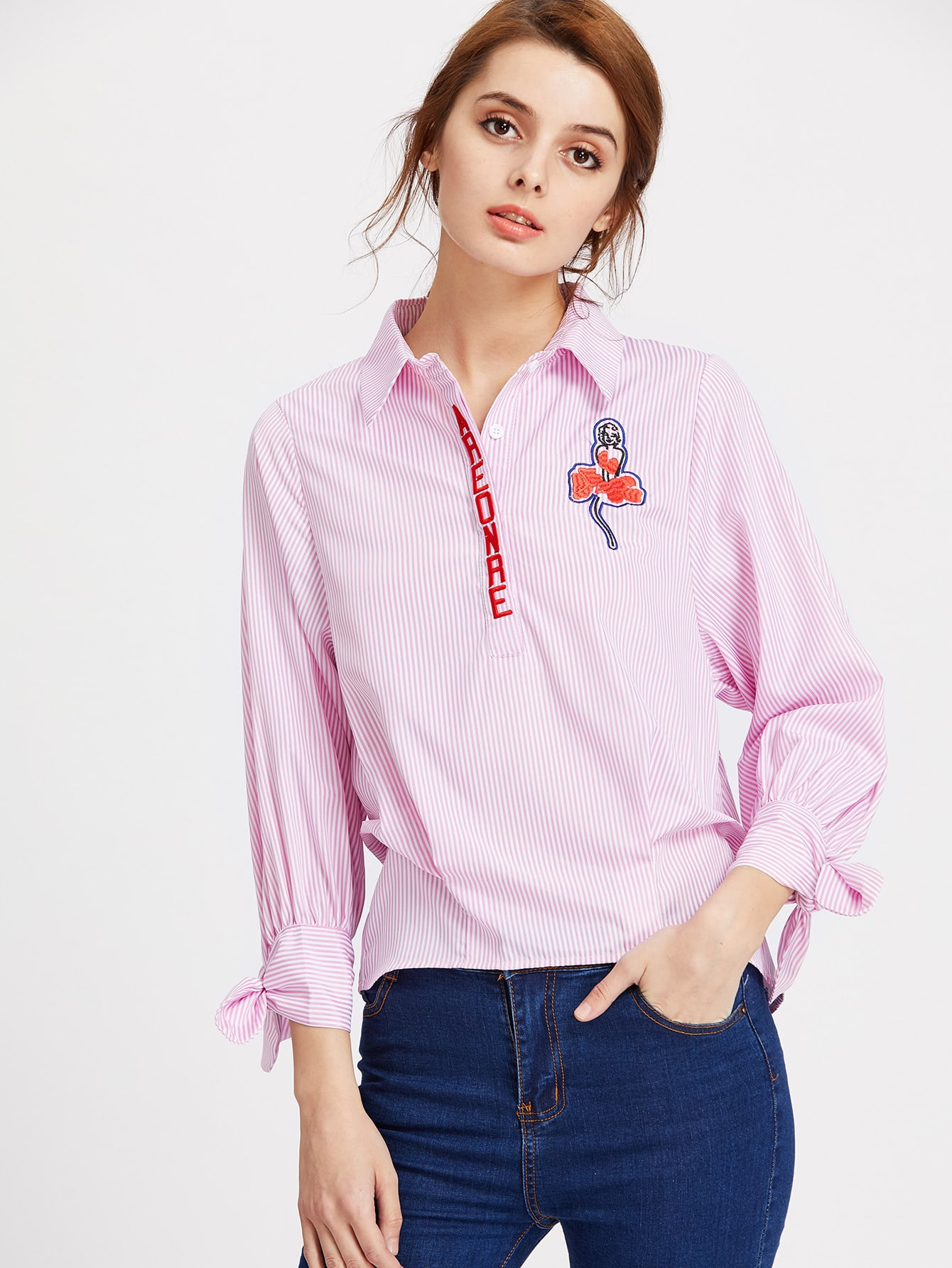 Vertical Striped Embroidered Half Placket Tie Cuff Blouse blouse170410409