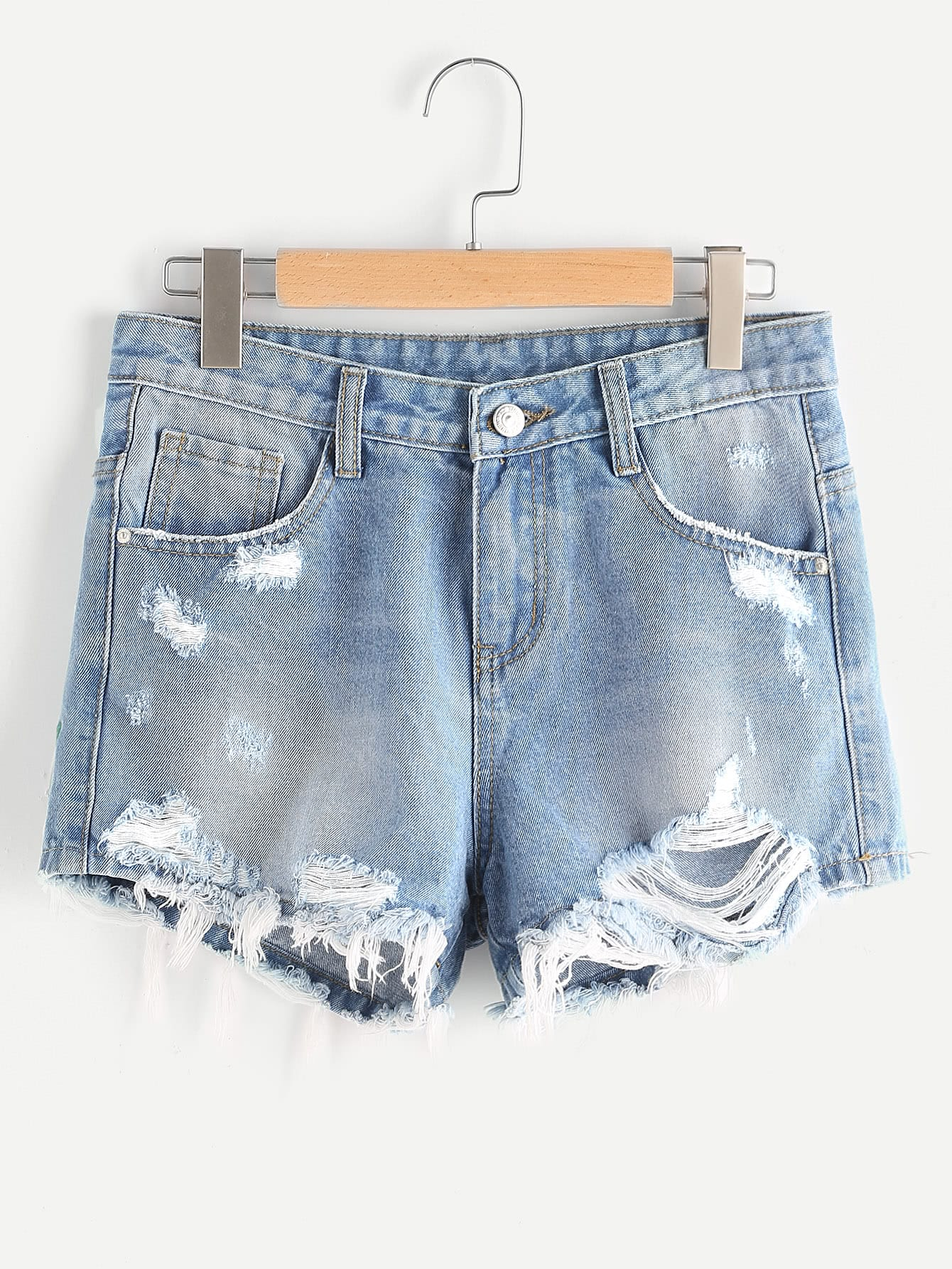 Фото Stone Wash Flower Embroidered Destroyed Denim Shorts. Купить с доставкой