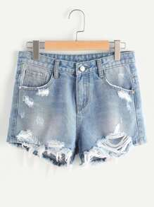 Shorts con bordado de flor en denim con rotura