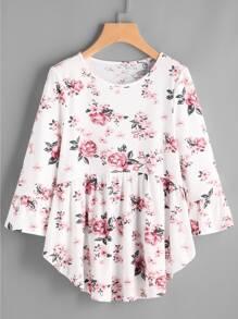 Tee-shirt imprimé fleuri et plissée