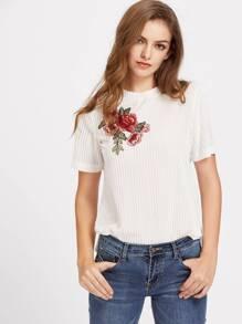Camiseta de terciopelo de rayas aplique de flor
