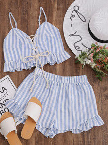 Lace Up Smocked Cami And Frill Shorts Co-Ord