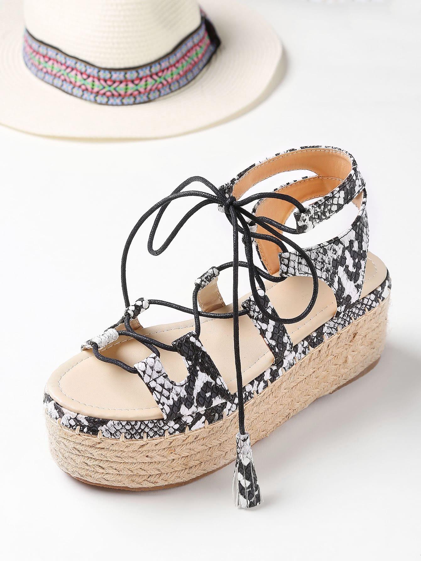 Snake Print Lace Up Espadrille Flatform Sandals Shein