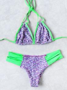 Contrast Trim Cutout Halter Bikini Set