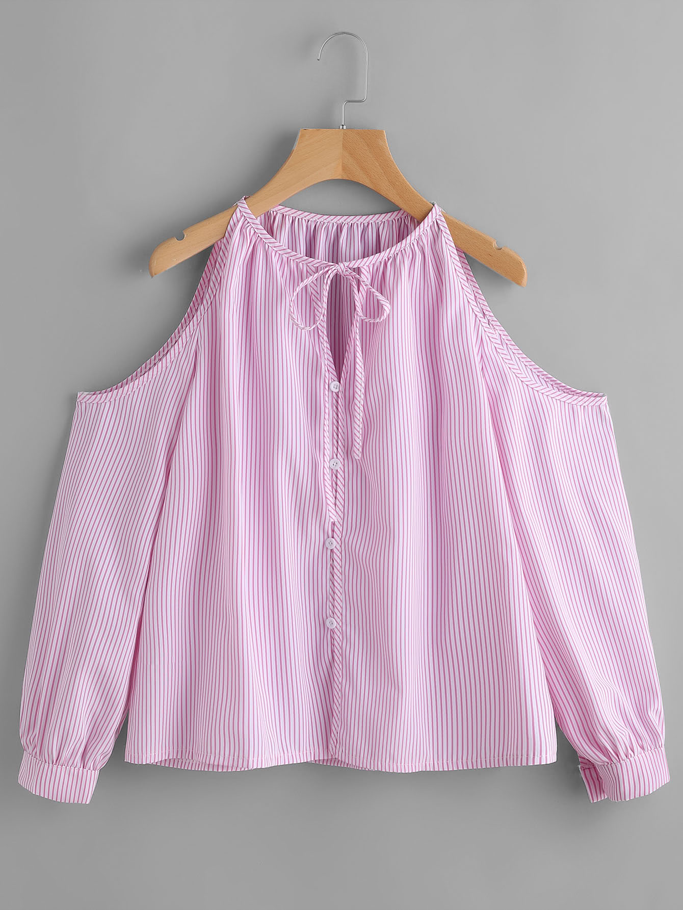 Фото Open Shoulder Pinstriped Tie Neck Top. Купить с доставкой