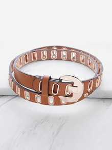 Cinturón de cuero sintético con hebilla con ojales de metal