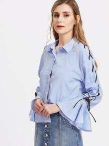 Lace Up Fluted Sleeve Striped Blouse pictures