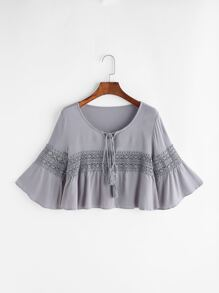 Fluted Sleeve Lace Panel Self Tie Crop Top