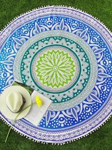 Mixed Print Pom Pom Trim Round Beach Blanket