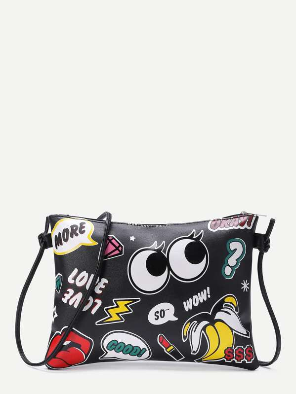 Eye And Letter Print Zipper Detail Clutch Bag, null