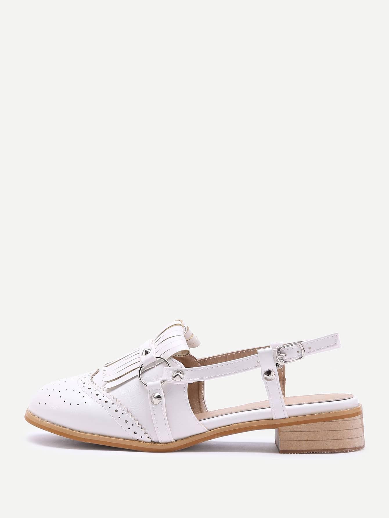 Фото Tassel Design Laser Cut Heeled Shoes With Studded. Купить с доставкой