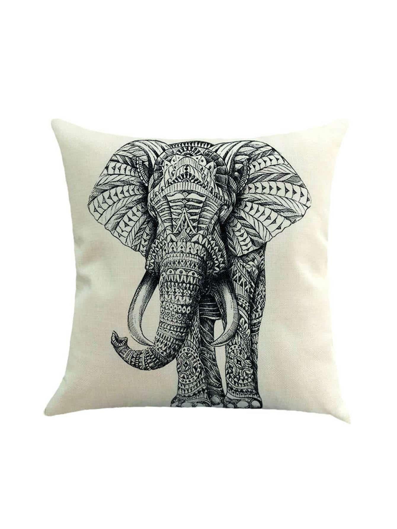 Elephant Print Pillowcase Cover
